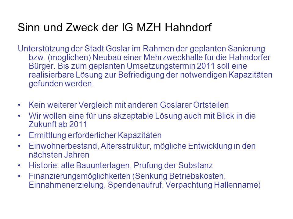Sinn und Zweck der IG MZH Hahndorf Unterstützung der Stadt Goslar im Rahmen der geplanten Sanierung bzw. (möglichen) Neubau einer Mehrzweckhalle für d