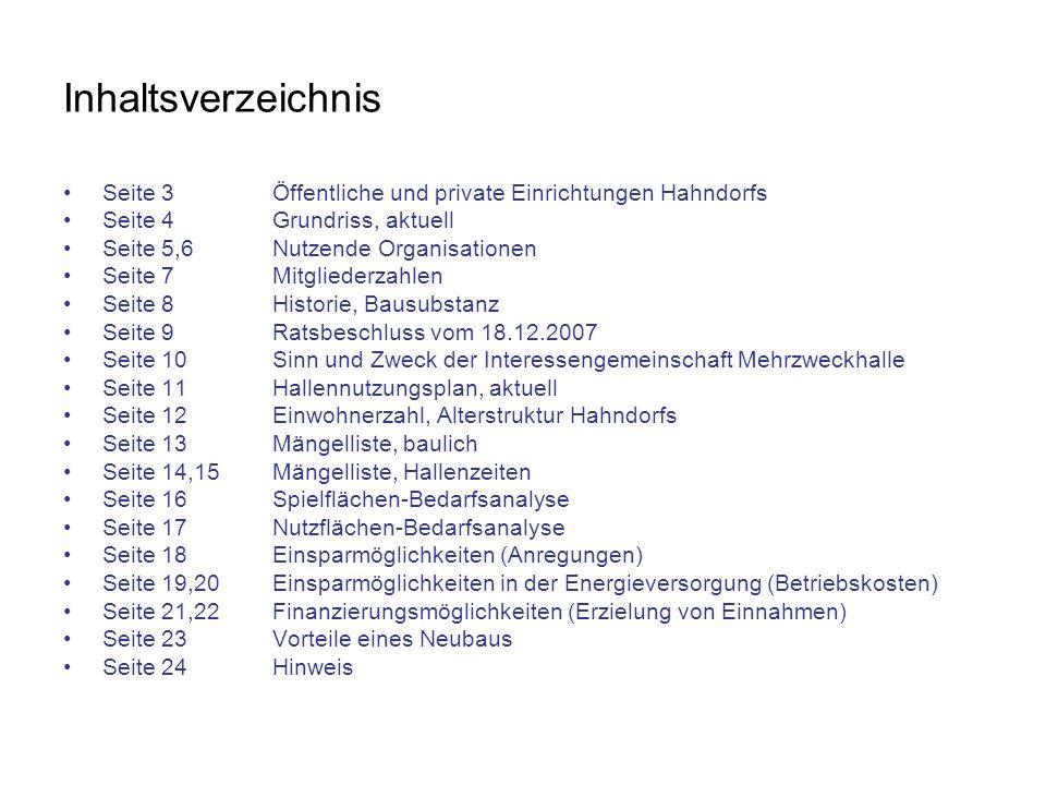 Inhaltsverzeichnis Seite 3Öffentliche und private Einrichtungen Hahndorfs Seite 4Grundriss, aktuell Seite 5,6Nutzende Organisationen Seite 7Mitglieder