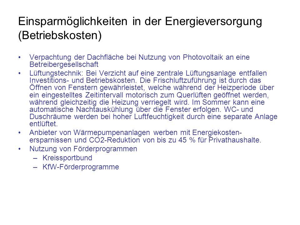 Einsparmöglichkeiten in der Energieversorgung (Betriebskosten) Verpachtung der Dachfläche bei Nutzung von Photovoltaik an eine Betreibergesellschaft L