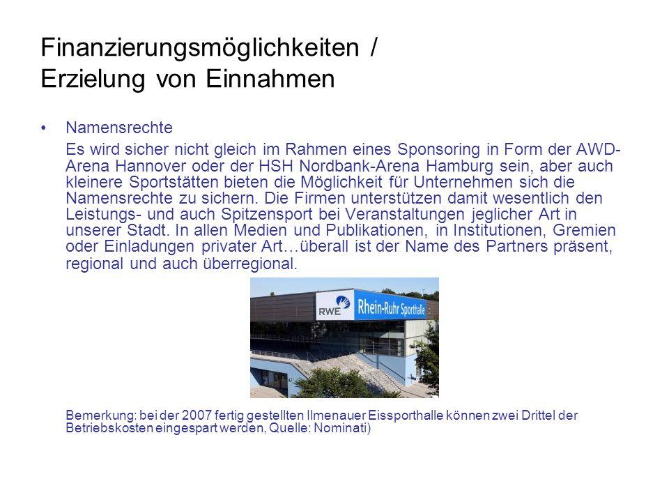Finanzierungsmöglichkeiten / Erzielung von Einnahmen Namensrechte Es wird sicher nicht gleich im Rahmen eines Sponsoring in Form der AWD- Arena Hannov