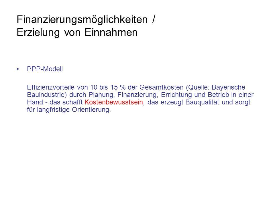 Finanzierungsmöglichkeiten / Erzielung von Einnahmen PPP-Modell Effizienzvorteile von 10 bis 15 % der Gesamtkosten (Quelle: Bayerische Bauindustrie) d