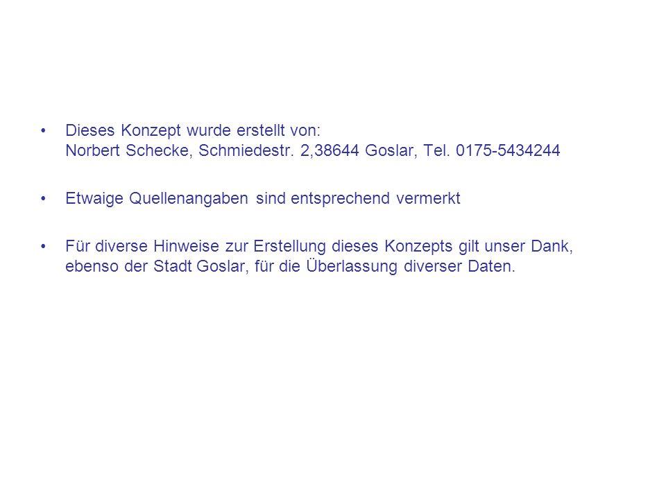 Dieses Konzept wurde erstellt von: Norbert Schecke, Schmiedestr. 2,38644 Goslar, Tel. 0175-5434244 Etwaige Quellenangaben sind entsprechend vermerkt F