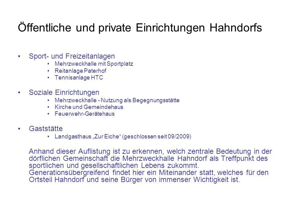 Öffentliche und private Einrichtungen Hahndorfs Sport- und Freizeitanlagen Mehrzweckhalle mit Sportplatz Reitanlage Paterhof Tennisanlage HTC Soziale