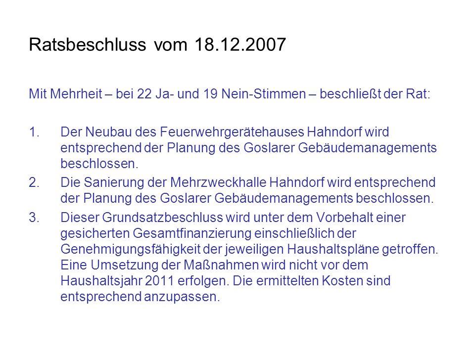 Ratsbeschluss vom 18.12.2007 Mit Mehrheit – bei 22 Ja- und 19 Nein-Stimmen – beschließt der Rat: 1.Der Neubau des Feuerwehrgerätehauses Hahndorf wird