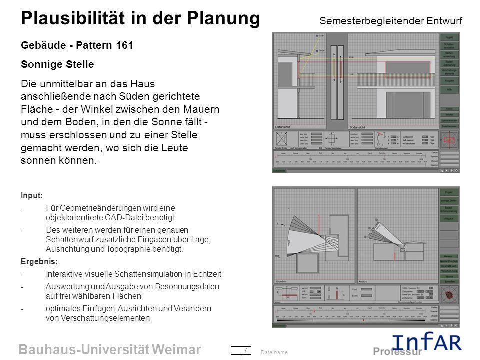 Bauhaus-Universität Weimar 8 Dateiname Plausibilität in der Planung Semesterbegleitender Entwurf Gebäude - Pattern 172 Wildwachsender Garten Stufenweise Gartenplanung im Rahmen der HOAI-Leistungsphasen 1-5 bis hin zu der Fertigstellung der Ausführungsplanung.