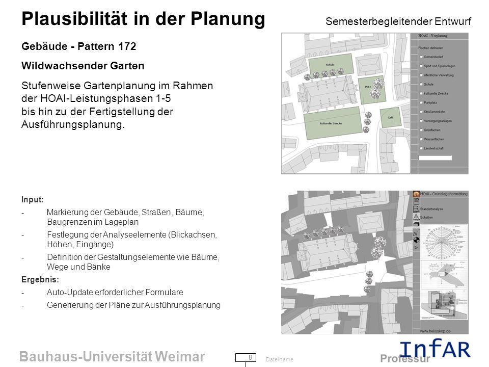 Bauhaus-Universität Weimar 9 Dateiname Plausibilität in der Planung Semesterbegleitender Entwurf Gebäude - Pattern 190 Verschiedene Raumhöhen...ein Gebäude mit durchgehend gleichen Raumhöhen ist praktisch außerstande, Wohlbefinden zu vermitteln...