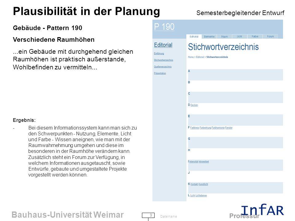 Bauhaus-Universität Weimar 10 Dateiname Plausibilität in der Planung Semesterbegleitender Entwurf Gebäude - Pattern 221 Türen und Fenster nach Bedarf Die richtige Lage für ein Fenster oder eine Tür zu finden ist eine subtile Angelegen- heit.