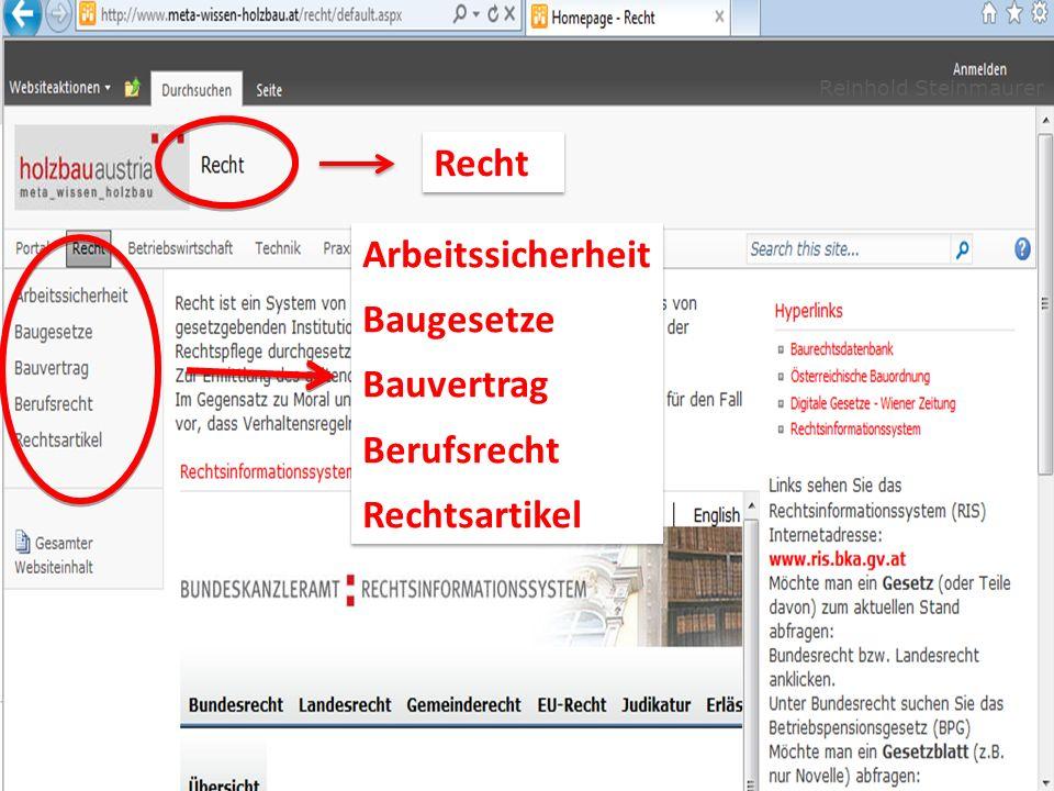 Reinhold Steinmaurer Recht Arbeitssicherheit Baugesetze Bauvertrag Berufsrecht Rechtsartikel Arbeitssicherheit Baugesetze Bauvertrag Berufsrecht Recht