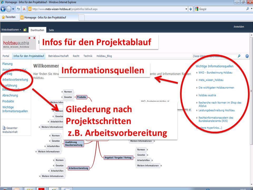 Reinhold Steinmaurer Informationsquellen Gliederung nach Projektschritten z.B. Arbeitsvorbereitung Gliederung nach Projektschritten z.B. Arbeitsvorber
