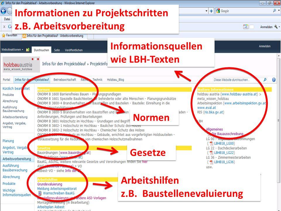Informationsquellen wie LBH-Texten Informationsquellen wie LBH-Texten Normen Gesetze Arbeitshilfen z.B. Baustellenevaluierung Arbeitshilfen z.B. Baust