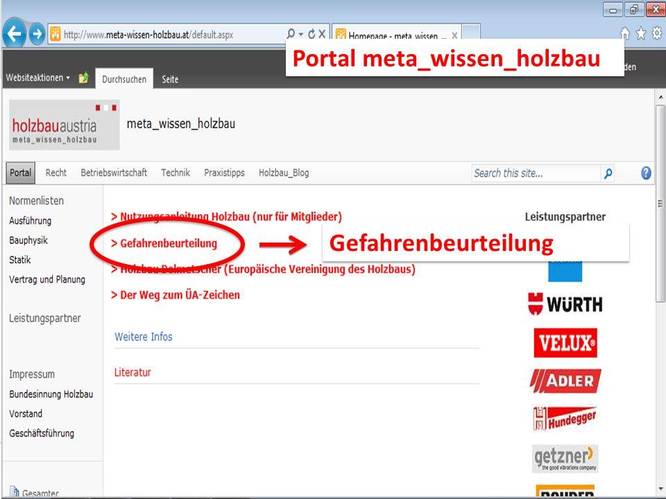 Gefahrenbeurteilung Portal meta_wissen_holzbau