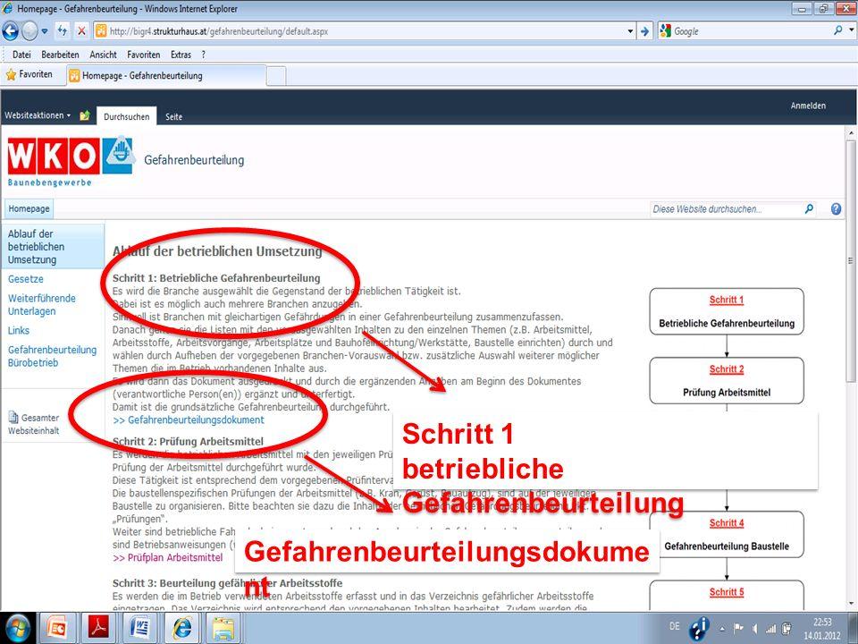 Schritt 1 betriebliche Gefahrenbeurteilung Schritt 1 betriebliche Gefahrenbeurteilung Gefahrenbeurteilungsdokume nt Gefahrenbeurteilungsdokume nt
