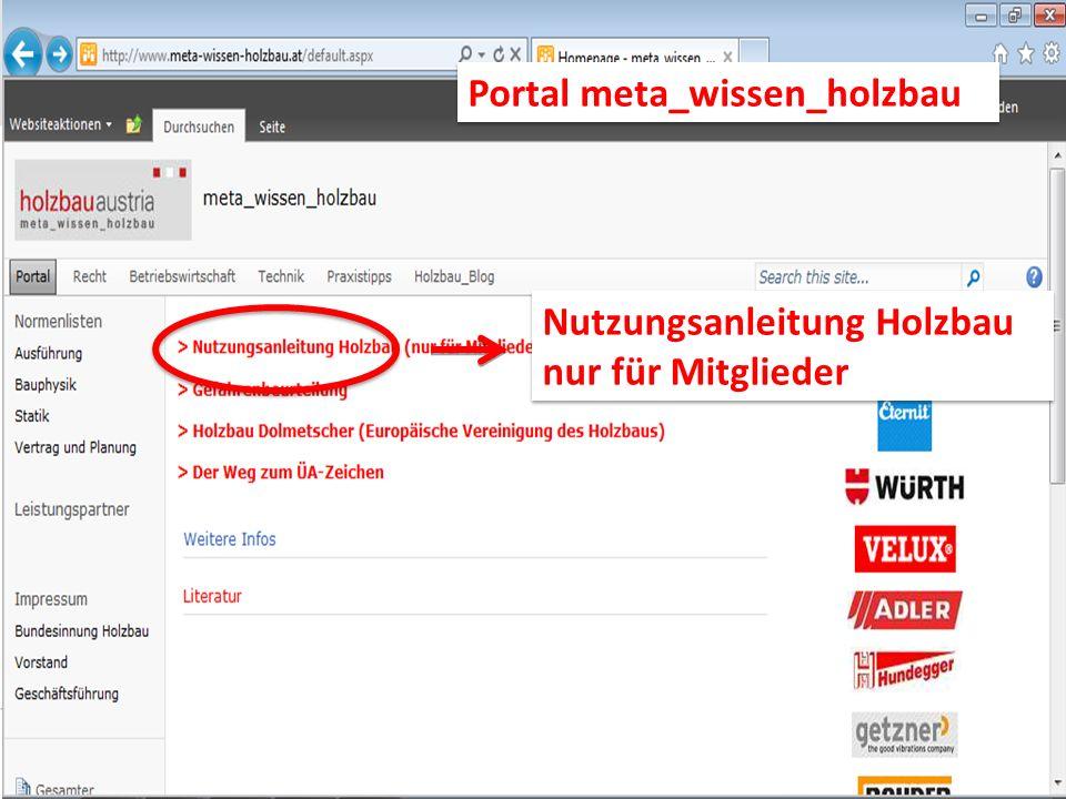 Nutzungsanleitung Holzbau nur für Mitglieder Nutzungsanleitung Holzbau nur für Mitglieder Portal meta_wissen_holzbau