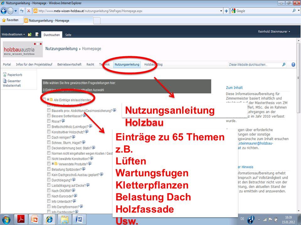 Nutzungsanleitung Holzbau Nutzungsanleitung Holzbau Einträge zu 65 Themen z.B.