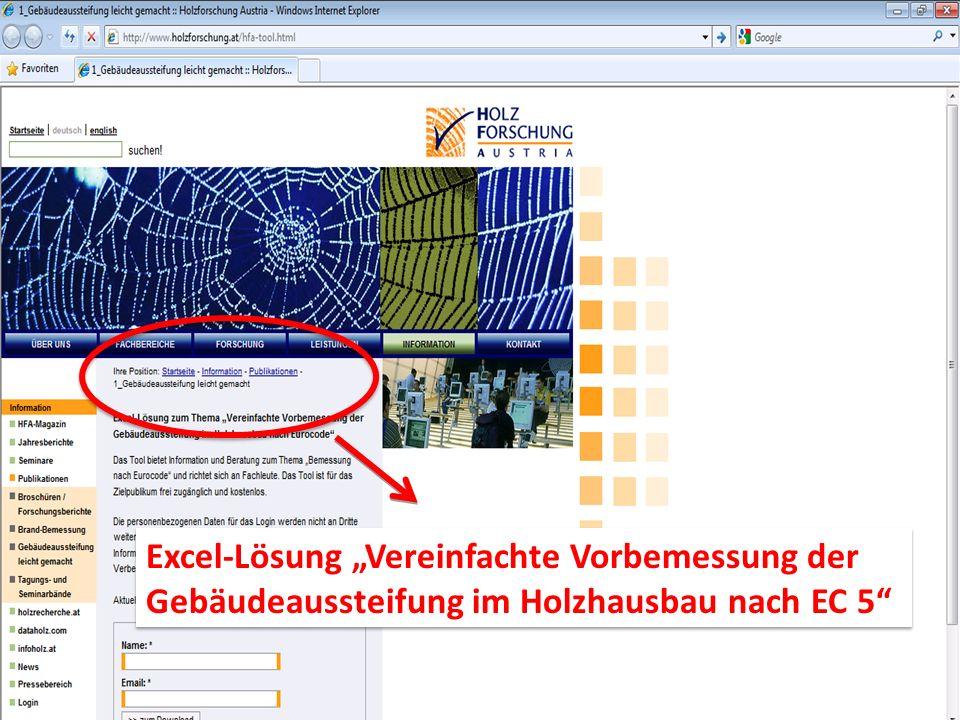 Excel-Lösung Vereinfachte Vorbemessung der Gebäudeaussteifung im Holzhausbau nach EC 5 Excel-Lösung Vereinfachte Vorbemessung der Gebäudeaussteifung im Holzhausbau nach EC 5