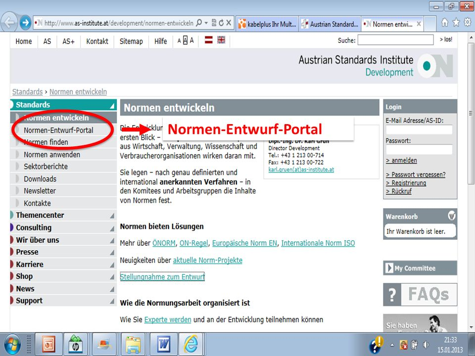 15Normung in der Bauwirtschaft21-03-2011 Normen-Entwurf-Portal