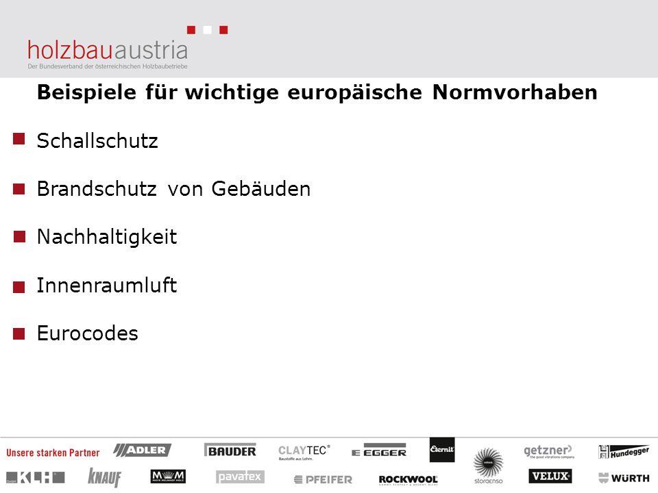 Beispiele für wichtige europäische Normvorhaben Schallschutz Brandschutz von Gebäuden Nachhaltigkeit Innenraumluft Eurocodes