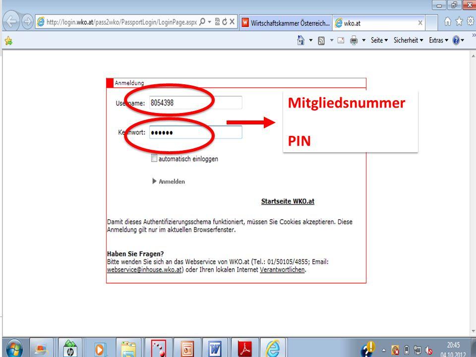 Mitgliedsnummer PIN Mitgliedsnummer PIN