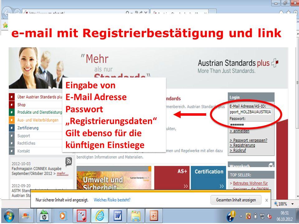 e-mail mit Registrierbestätigung und link Eingabe von E-Mail Adresse Passwort Registrierungsdaten Gilt ebenso für die künftigen Einstiege Eingabe von