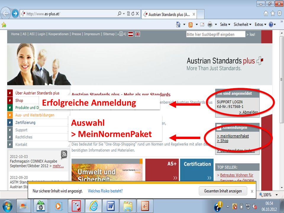 Auswahl > MeinNormenPaket Auswahl > MeinNormenPaket Erfolgreiche Anmeldung