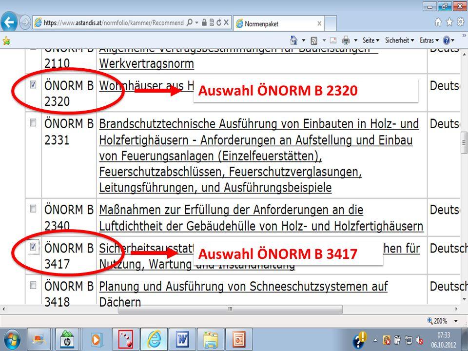 Auswahl ÖNORM B 2320 Auswahl ÖNORM B 3417