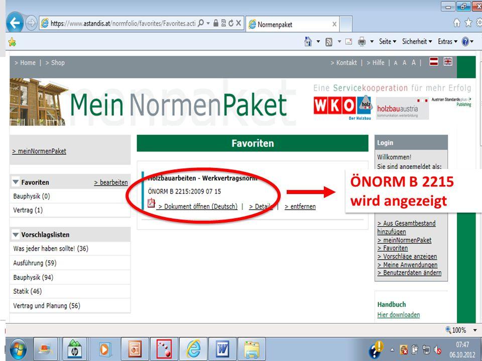 ÖNORM B 2215 wird angezeigt ÖNORM B 2215 wird angezeigt