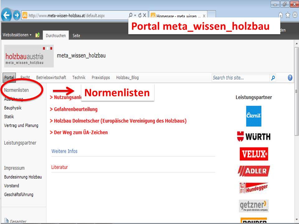 Normenlisten Portal meta_wissen_holzbau