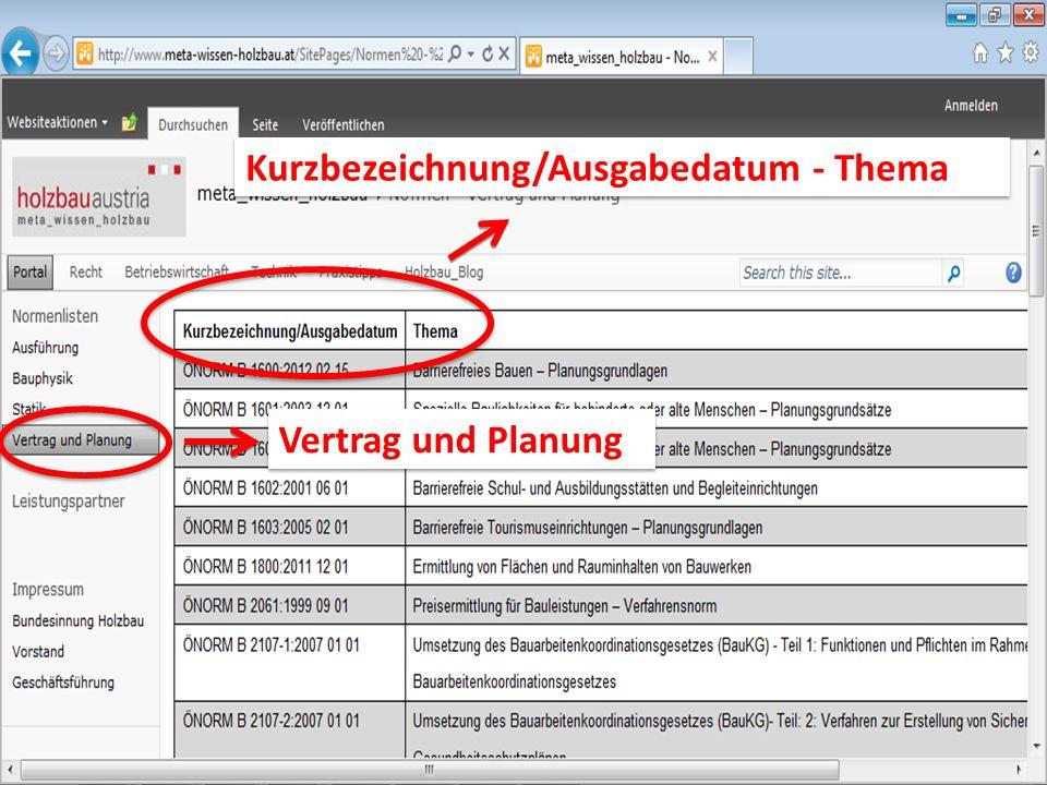 Vertrag und Planung Kurzbezeichnung/Ausgabedatum - Thema
