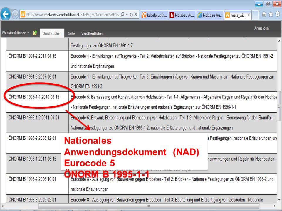Nationales Anwendungsdokument (NAD) Eurocode 5 ÖNORM B 1995-1-1 Nationales Anwendungsdokument (NAD) Eurocode 5 ÖNORM B 1995-1-1