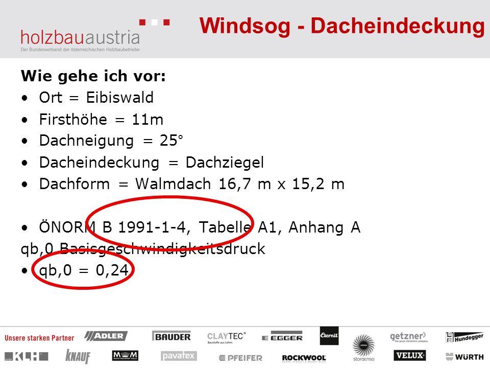 Windsog - Dacheindeckung Wie gehe ich vor: Ort = Eibiswald Firsthöhe = 11m Dachneigung = 25° Dacheindeckung = Dachziegel Dachform = Walmdach 16,7 m x 15,2 m ÖNORM B 1991-1-4, Tabelle A1, Anhang A qb,0 Basisgeschwindigkeitsdruck qb,0 = 0,24