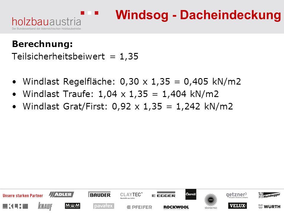Berechnung: Teilsicherheitsbeiwert = 1,35 Windlast Regelfläche: 0,30 x 1,35 = 0,405 kN/m2 Windlast Traufe: 1,04 x 1,35 = 1,404 kN/m2 Windlast Grat/Fir