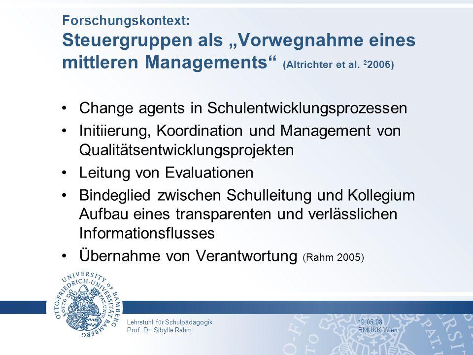 Lehrstuhl für Schulpädagogik 19.05.08 Prof. Dr. Sibylle Rahm BMUKK Wien Forschungskontext: Steuergruppen als Vorwegnahme eines mittleren Managements (