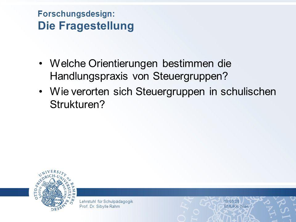 Lehrstuhl für Schulpädagogik 19.05.08 Prof. Dr. Sibylle Rahm BMUKK Wien Forschungsdesign: Die Fragestellung Welche Orientierungen bestimmen die Handlu