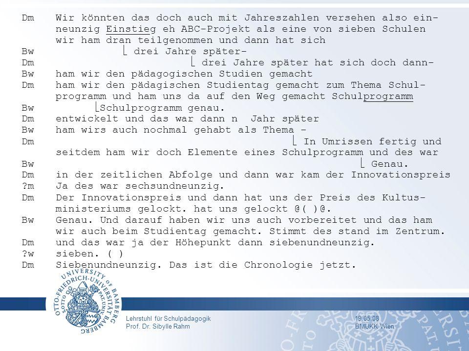 Lehrstuhl für Schulpädagogik 19.05.08 Prof. Dr. Sibylle Rahm BMUKK Wien Dm Wir könnten das doch auch mit Jahreszahlen versehen also ein- neunzig Einst
