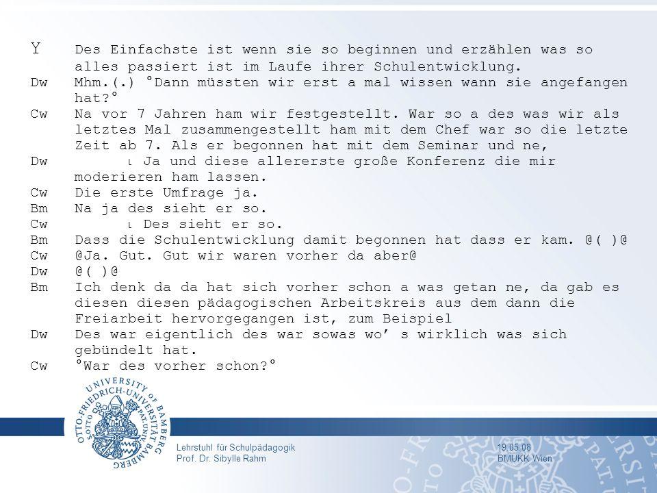 Lehrstuhl für Schulpädagogik 19.05.08 Prof. Dr. Sibylle Rahm BMUKK Wien Y Des Einfachste ist wenn sie so beginnen und erzählen was so alles passiert i