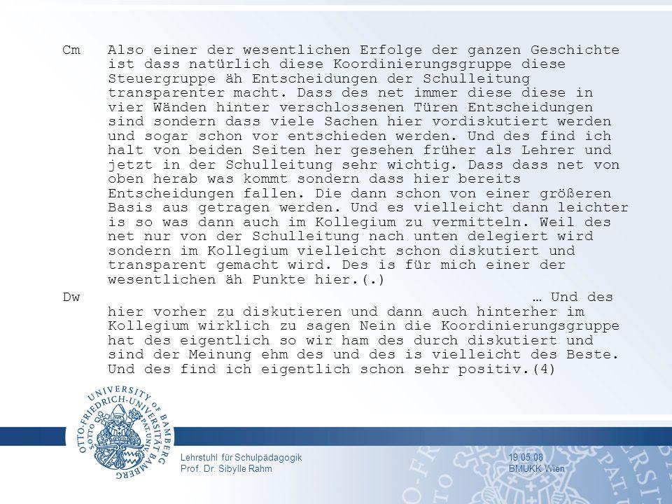 Lehrstuhl für Schulpädagogik 19.05.08 Prof. Dr. Sibylle Rahm BMUKK Wien CmAlso einer der wesentlichen Erfolge der ganzen Geschichte ist dass natürlich