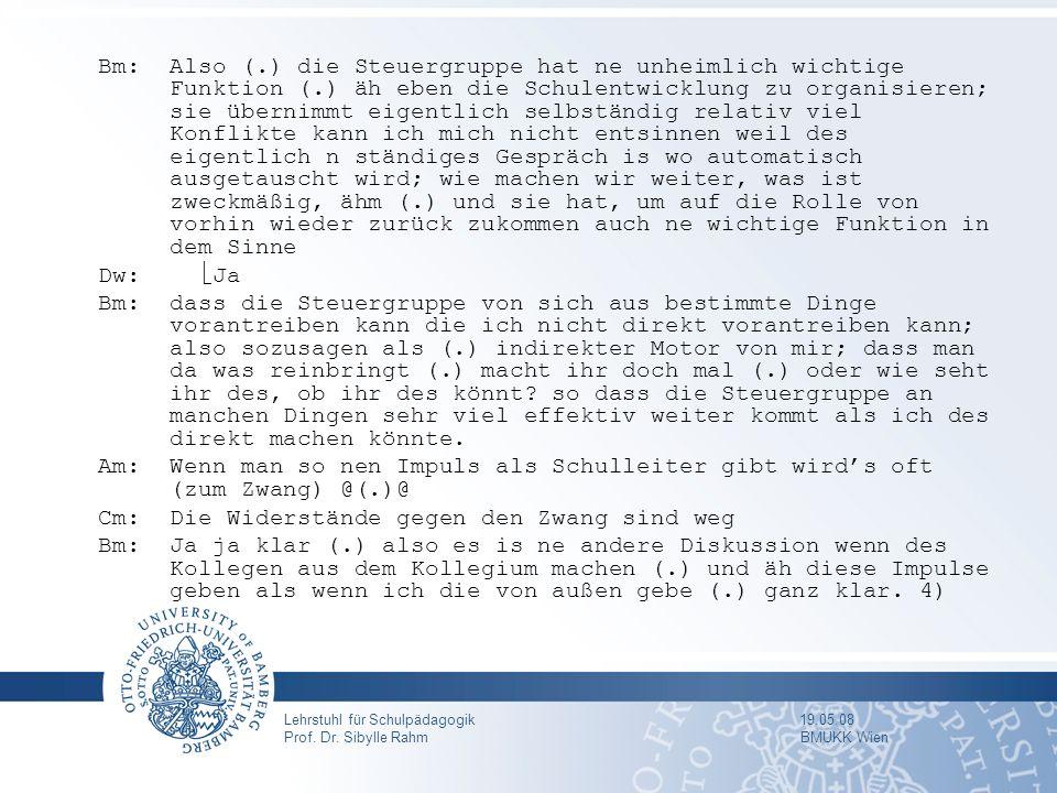 Lehrstuhl für Schulpädagogik 19.05.08 Prof. Dr. Sibylle Rahm BMUKK Wien Bm:Also (.) die Steuergruppe hat ne unheimlich wichtige Funktion (.) äh eben d