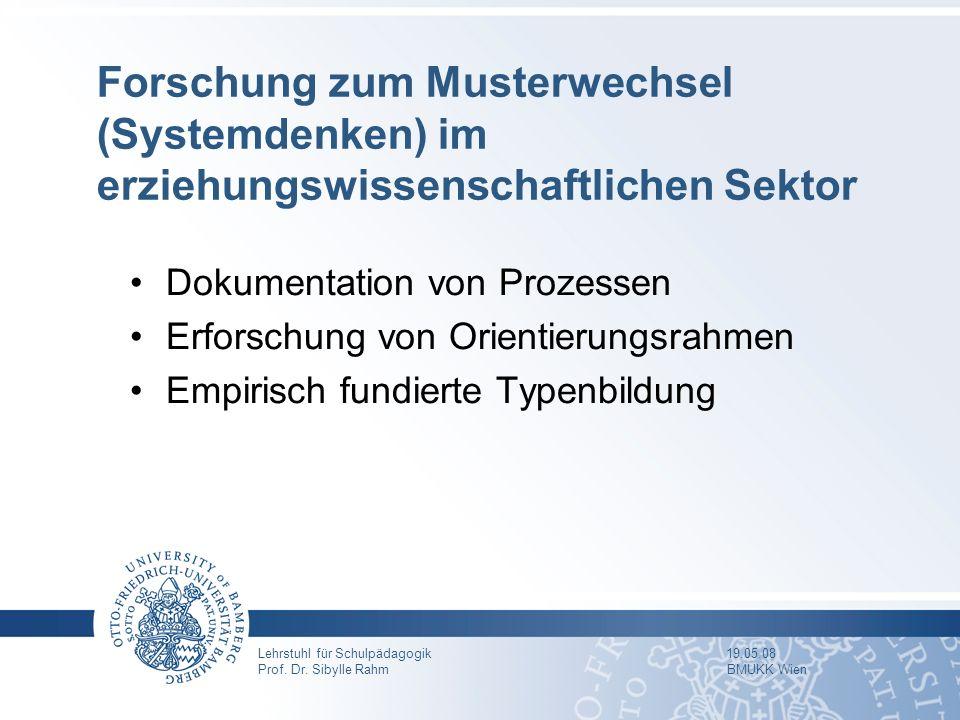 Lehrstuhl für Schulpädagogik 19.05.08 Prof. Dr. Sibylle Rahm BMUKK Wien Forschung zum Musterwechsel (Systemdenken) im erziehungswissenschaftlichen Sek