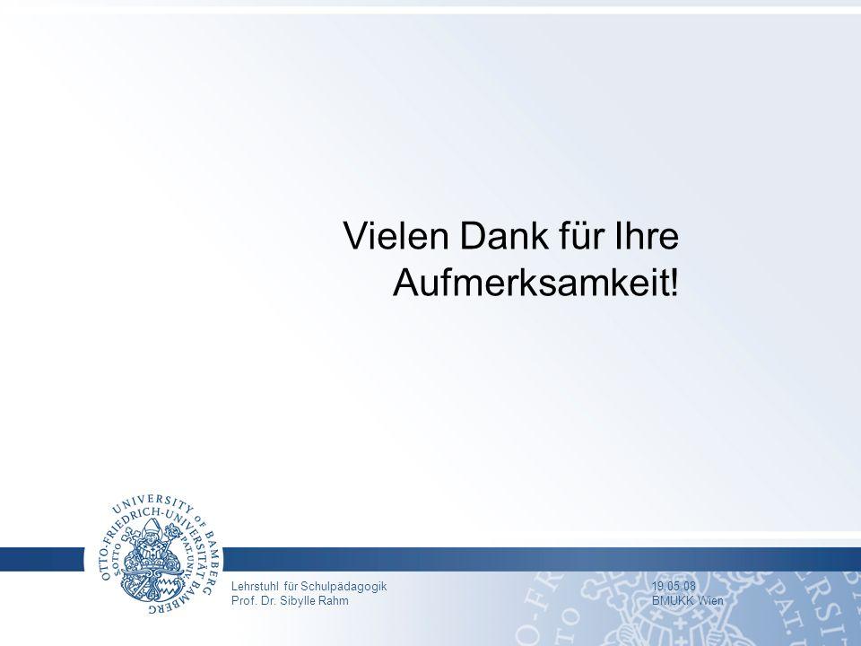 Lehrstuhl für Schulpädagogik 19.05.08 Prof. Dr. Sibylle Rahm BMUKK Wien Vielen Dank für Ihre Aufmerksamkeit!