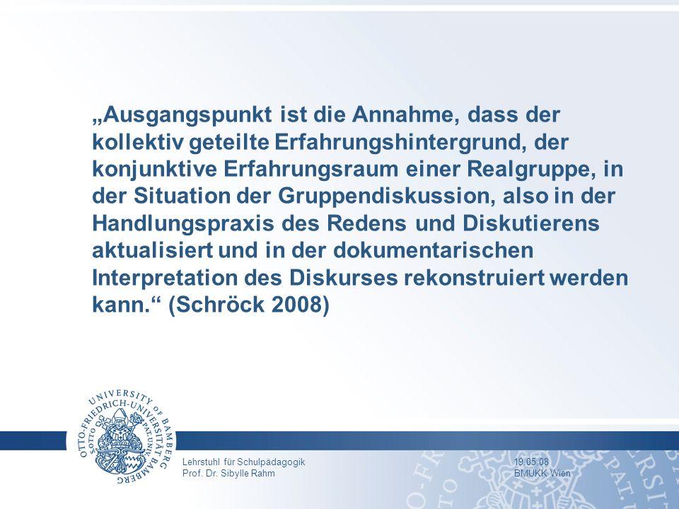 Lehrstuhl für Schulpädagogik 19.05.08 Prof. Dr. Sibylle Rahm BMUKK Wien Ausgangspunkt ist die Annahme, dass der kollektiv geteilte Erfahrungshintergru