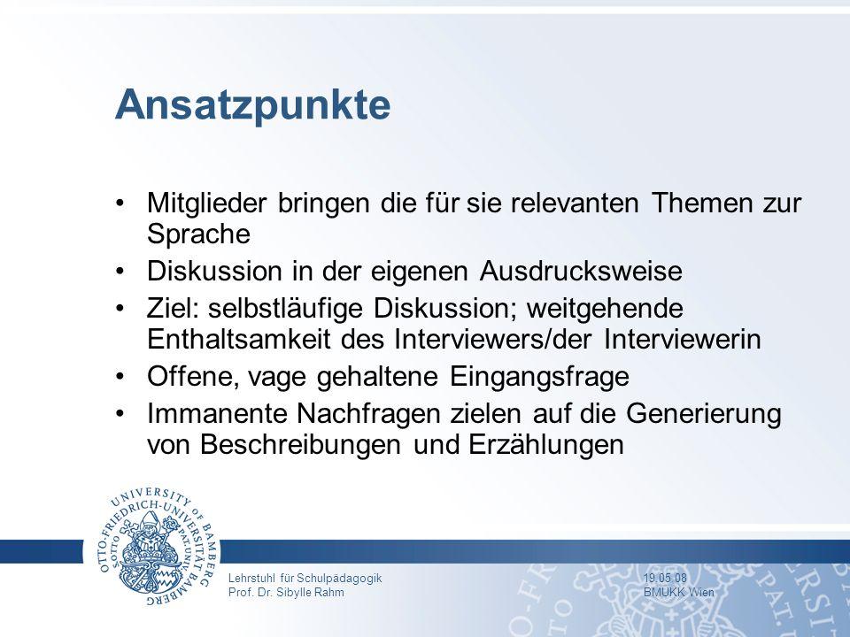 Lehrstuhl für Schulpädagogik 19.05.08 Prof. Dr. Sibylle Rahm BMUKK Wien Ansatzpunkte Mitglieder bringen die für sie relevanten Themen zur Sprache Disk