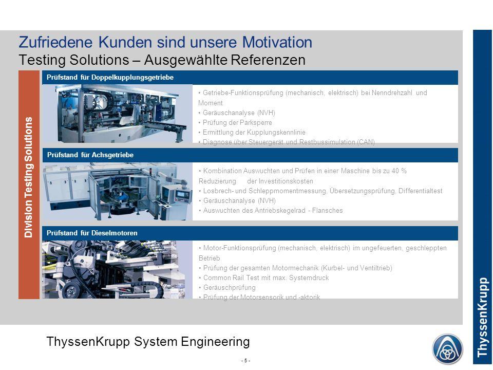 ThyssenKrupp ThyssenKrupp System Engineering Corporate (without Divsion) - 5 - Division Testing Solutions Prüfstand für Doppelkupplungsgetriebe Prüfst