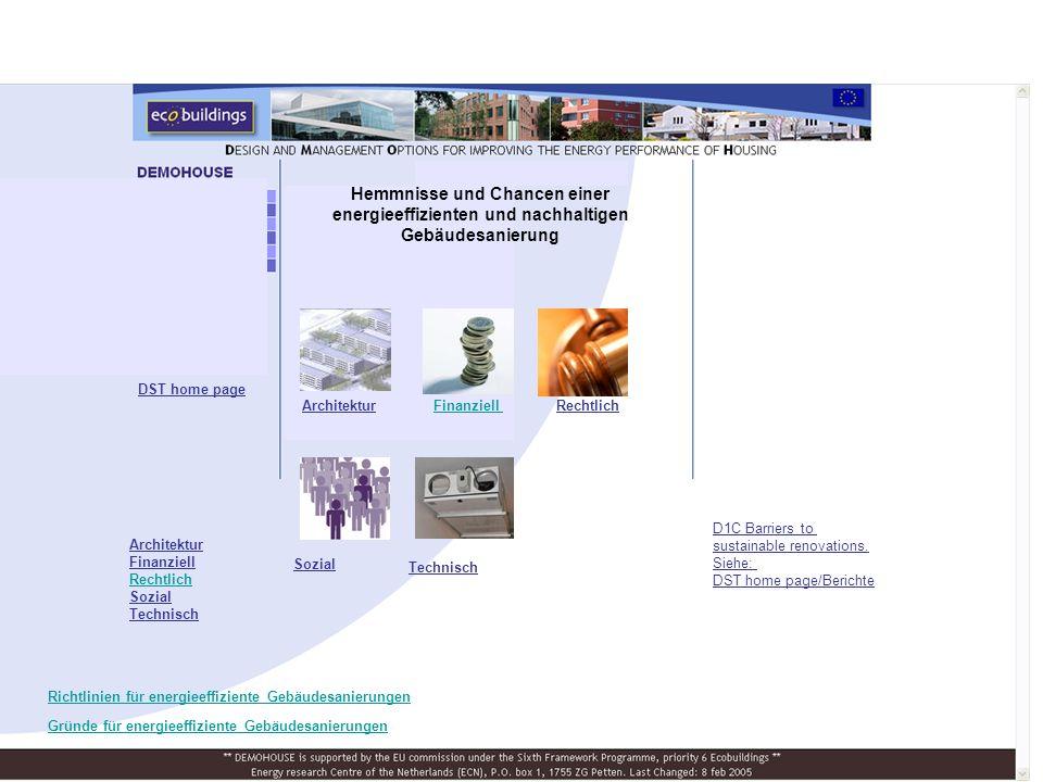 Hemmnisse und Chancen einer energieeffizienten und nachhaltigen Gebäudesanierung FinanziellArchitekturRechtlich Sozial Technisch Architektur Finanziell Rechtlich Sozial Technisch DST home page D1C Barriers to sustainable renovations.