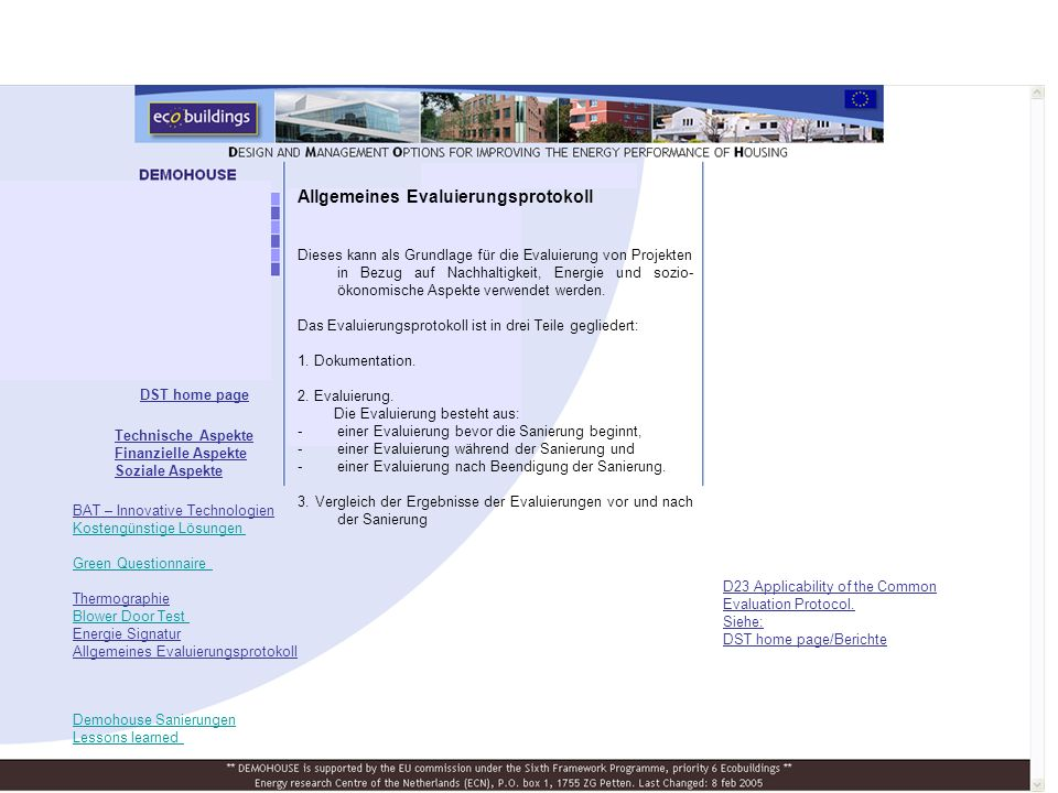 DST home page D23 Applicability of the Common Evaluation Protocol.