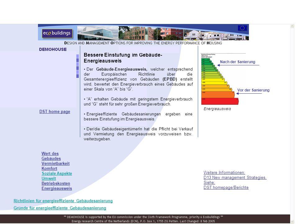 Bessere Einstufung im Gebäude- Energieausweis Der Gebäude-Energieausweis, welcher entsprechend der Europäischen Richtlinie über die Gesamtenergieeffizienz von Gebäuden (EPBD) erstellt wird, bewertet den Energieverbrauch eines Gebäudes auf einer Skala von A bis G.