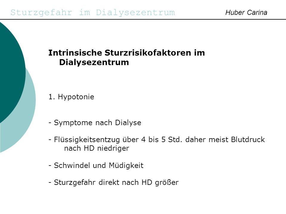 Sturzgefahr im Dialysezentrum Huber Carina Intrinsische Sturzrisikofaktoren im Dialysezentrum 1. Hypotonie - Symptome nach Dialyse - Flüssigkeitsentzu