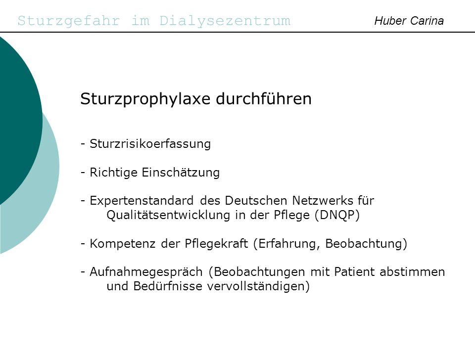 Sturzgefahr im Dialysezentrum Huber Carina Sturzprophylaxe durchführen - Sturzrisikoerfassung - Richtige Einschätzung - Expertenstandard des Deutschen