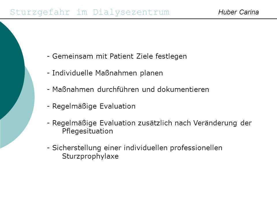 Sturzgefahr im Dialysezentrum Huber Carina - Gemeinsam mit Patient Ziele festlegen - Individuelle Maßnahmen planen - Maßnahmen durchführen und dokumen
