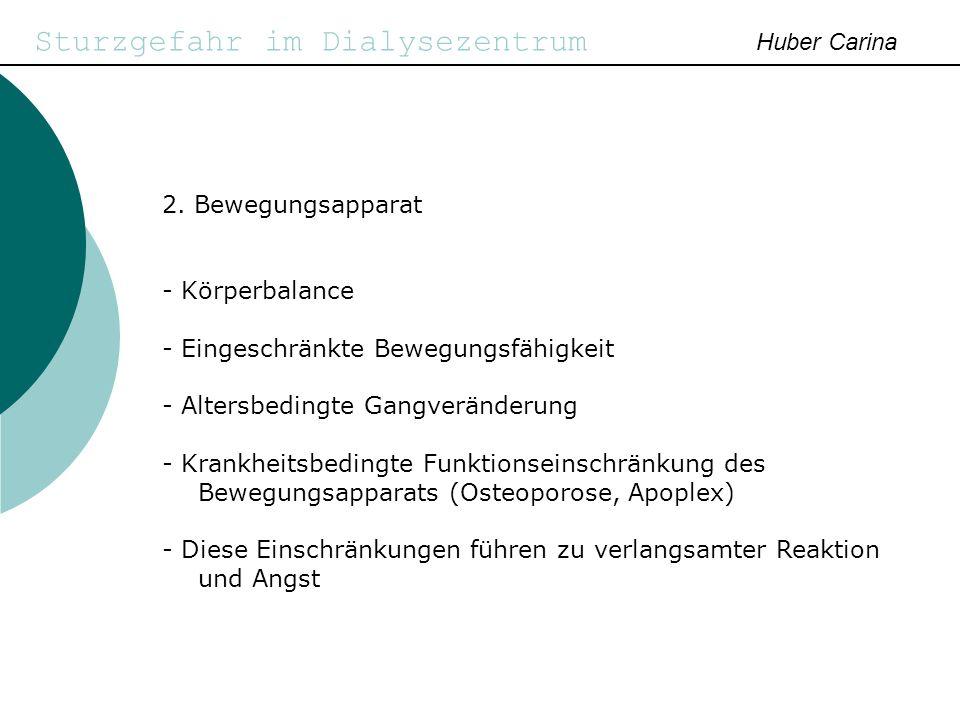 Sturzgefahr im Dialysezentrum Huber Carina - Entwicklung von Vermeidungsverhalten - Verlust der Selbstständigkeit - Abhängigkeit z.
