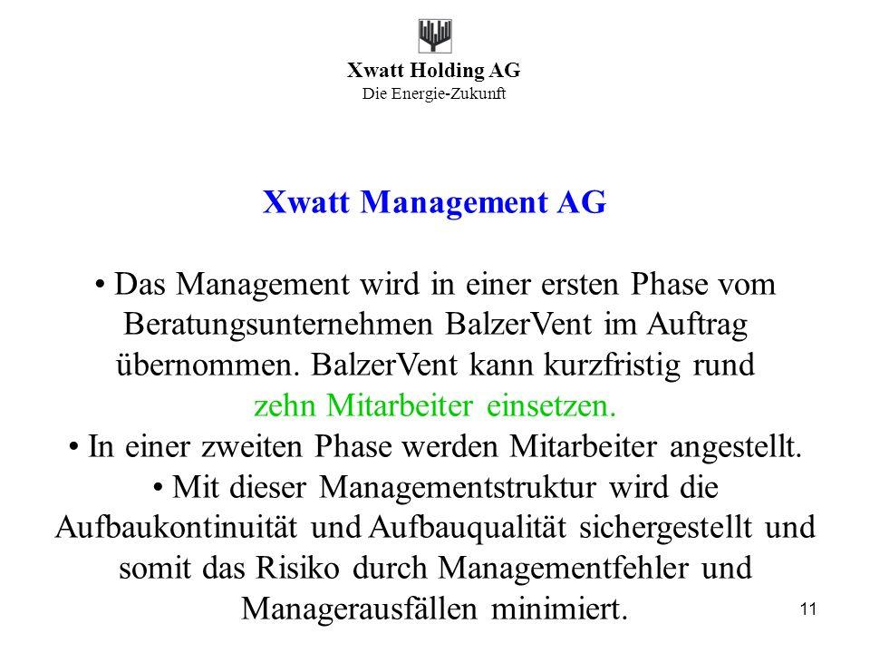 Xwatt Holding AG Die Energie-Zukunft 11 Xwatt Management AG Das Management wird in einer ersten Phase vom Beratungsunternehmen BalzerVent im Auftrag ü